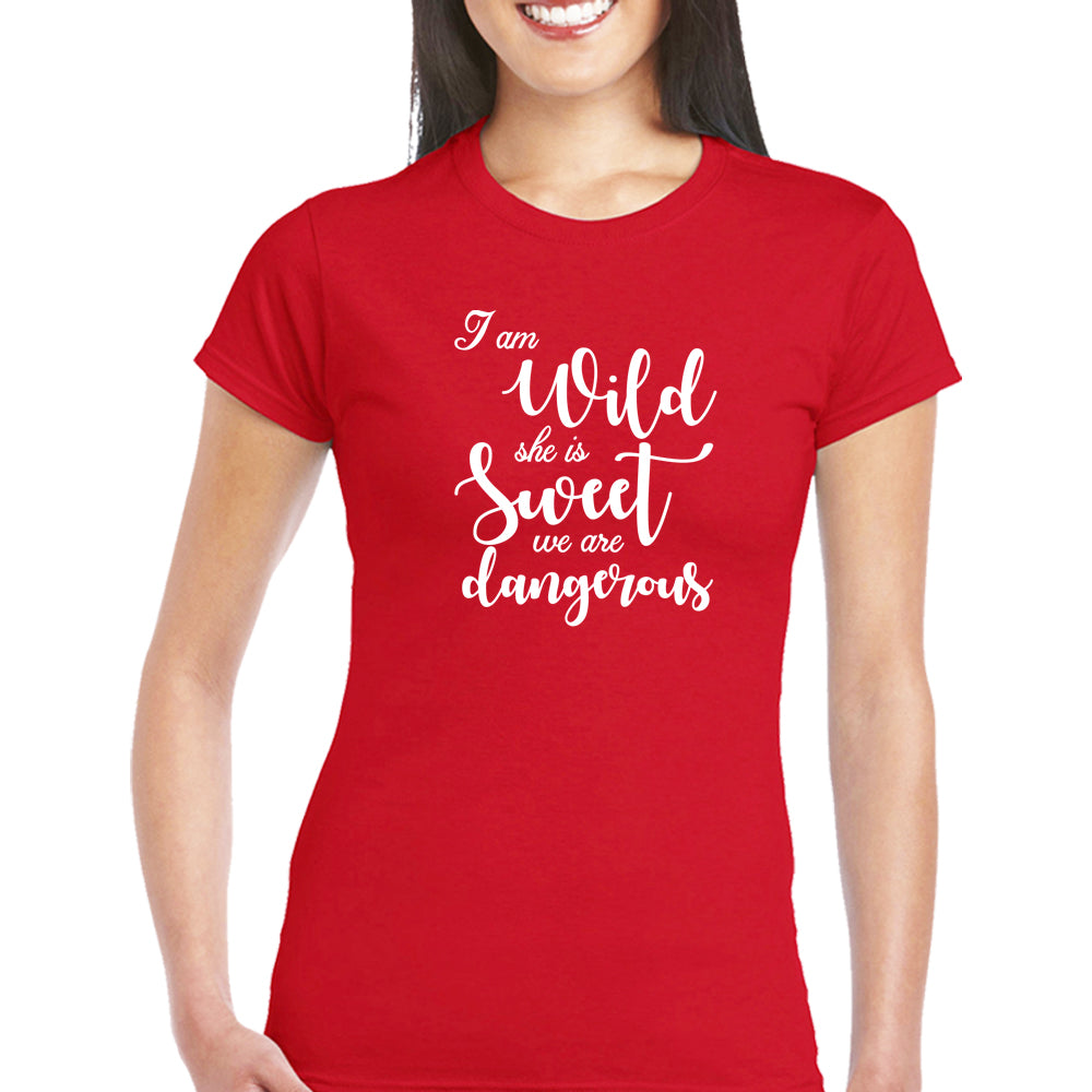 Sprinklecart I'm Wild She is Sweet We are Dangerous Printed Matching Friends Cotton T Shirts