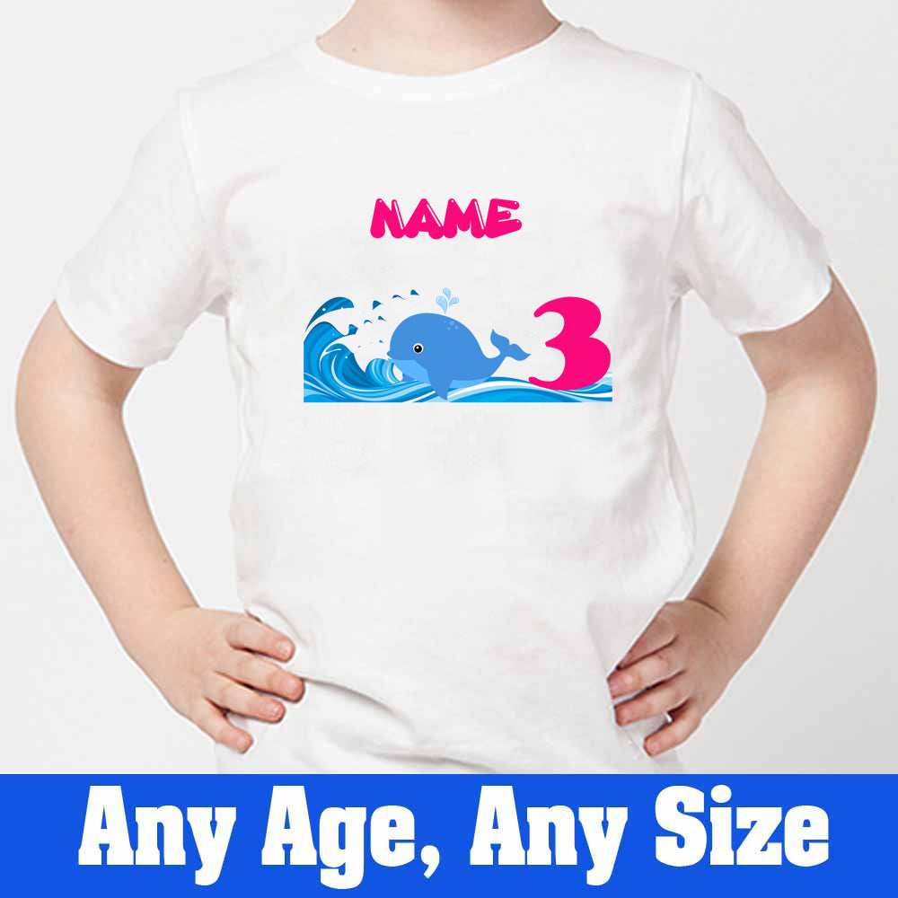Sprinklecart Little Shark Birthday Wear | Custom Name and Age Printed 3red Birthday T Shirt