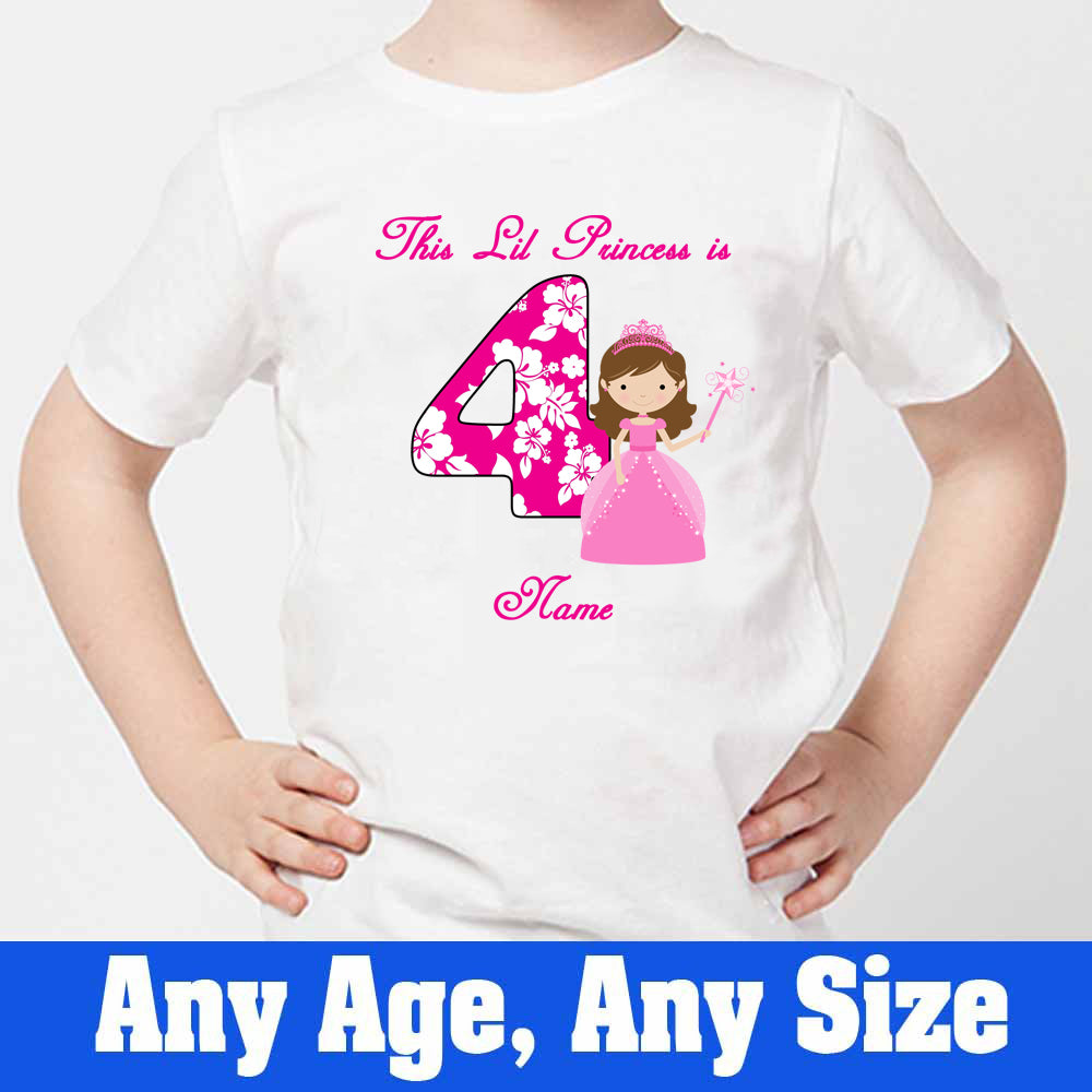Sprinklecart This Lil Princess is 4 Printed T Shirt for Your Little Princess 4th Birthday T Shirt