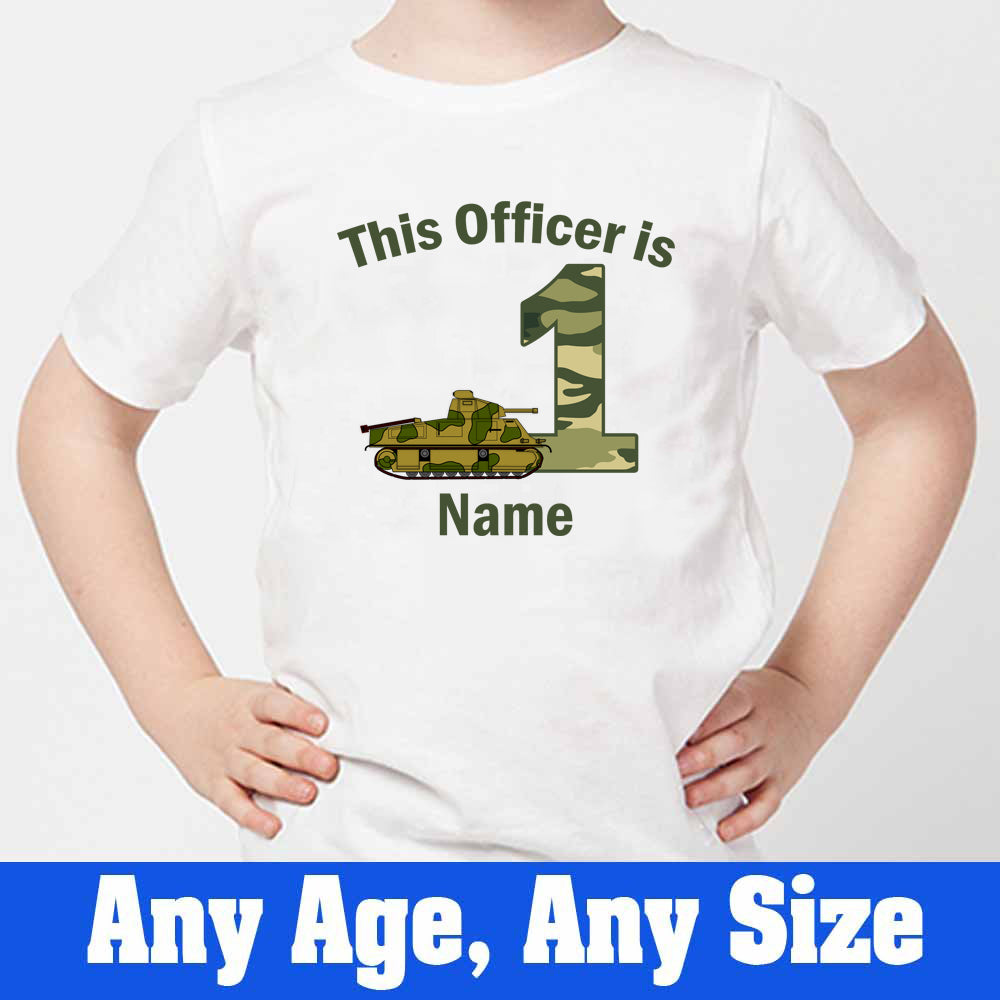 Sprinklecart This Officer is 1 Printed Military Army Themed Customized Birthday T Shirt