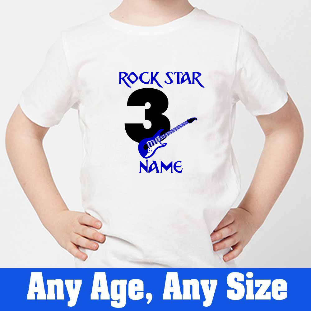 Sprinklecart Custom Name and Age Printed Rock Star Birthday T Shirt | Guitar 3rd Birthday T Shirt