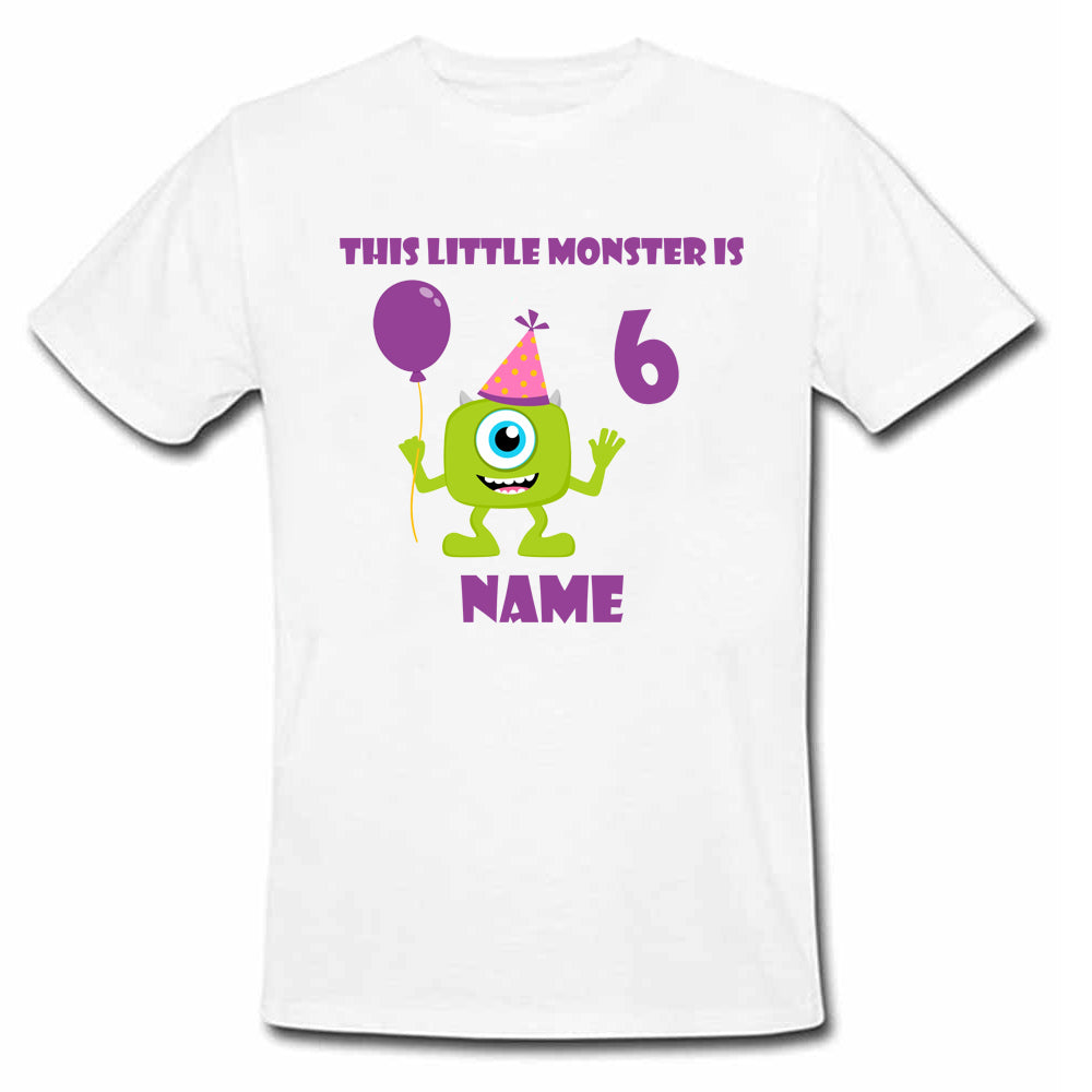 Sprinklecart This Little Monster is 6 Printed Birthday Wear | Custom Name and Age Printed Birthday T Shirt