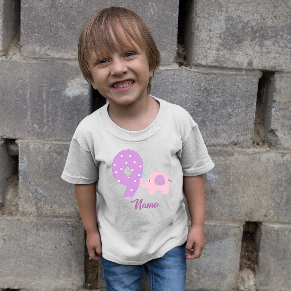 Sprinklecart Cute Little Elephant Birthday T Shirt | Personalized 9th Birthday T Shirt