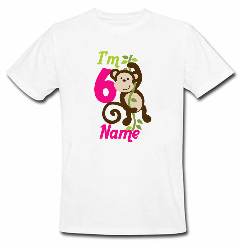 Sprinklecart Customized Cute Monkey Birthday T Shirt | Custom Name and Age Printed Birthday Dress