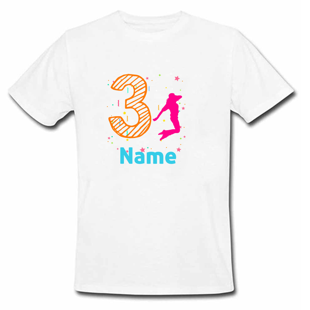 Sprinklecart Custom Name and Age Printed Dancer Birthday T Shirt | Personalized 3rd Birthday Dress