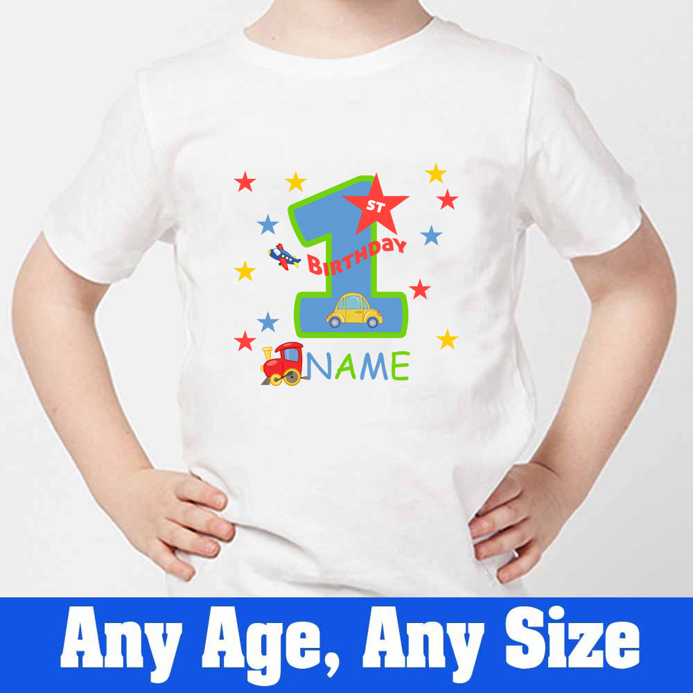 Sprinklecart Cute Vehicles Birthday T Shirt | Personalized 1st Birthday T Shirt for Your Cutie