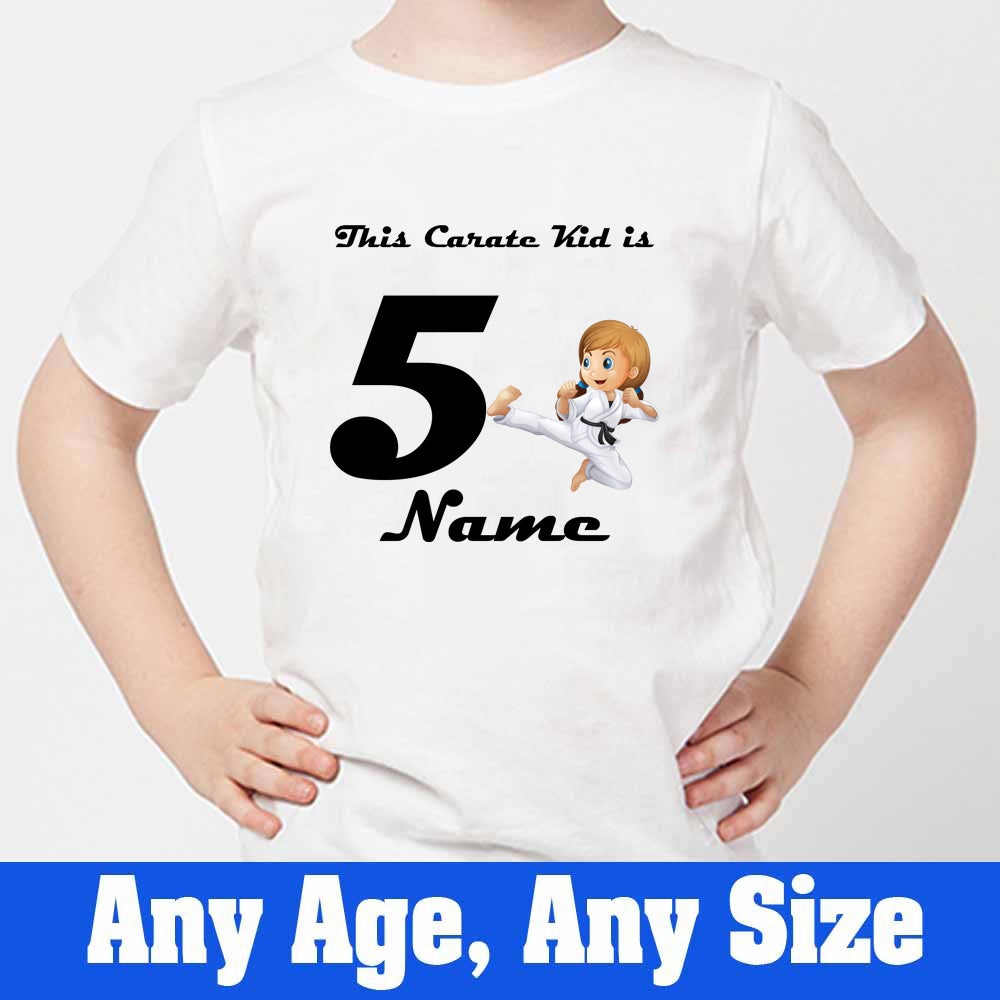 Sprinklecart This Carate Kid is 5 Printed Birthday T Shirt Birthday Dress