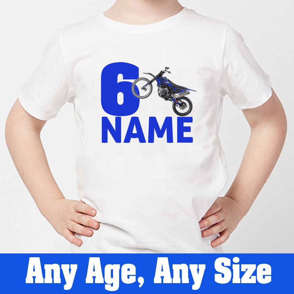 Sprinklecart Cool Dirt Race Bike Birthday Wear | Personalized 6th Birthday T Shirt for Boys