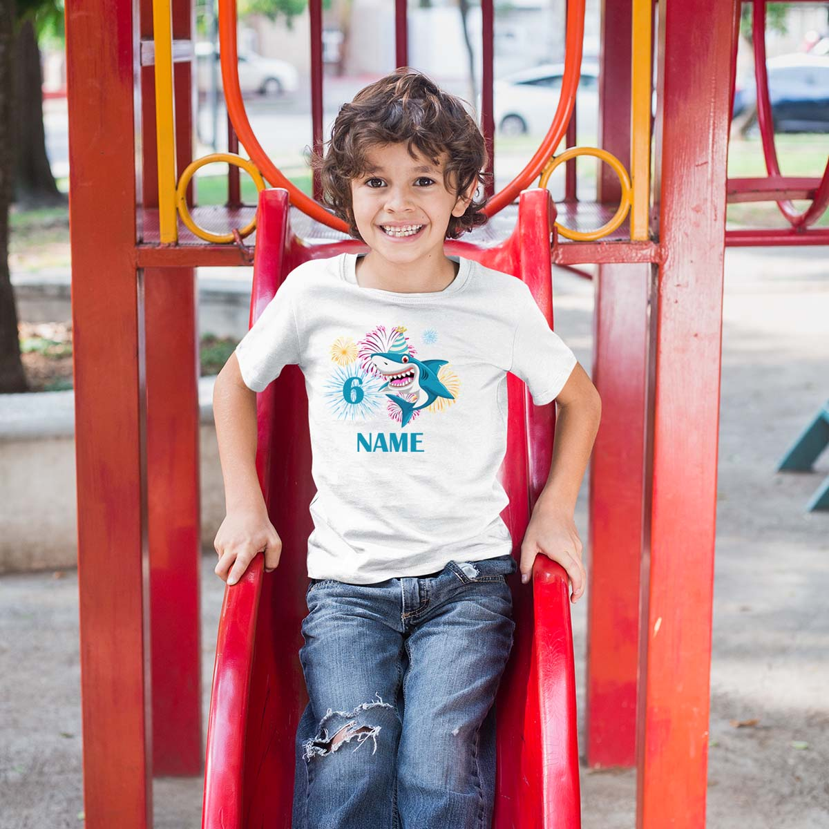 Sprinklecart Shark Birthday T Shirt | Customized 6th Birthday T Shirt for Your Little One