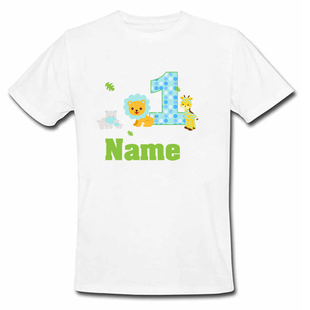 Sprinklecart Cute Jungle Animals Birthday T Shirt | Personalized Birthday Dress for Your Little One