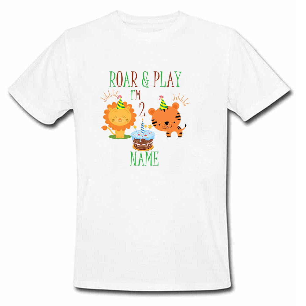 Sprinklecart Roar and Play I'm 2 Printed Birthday Dress | Customized 2nd Birthday T Shirt