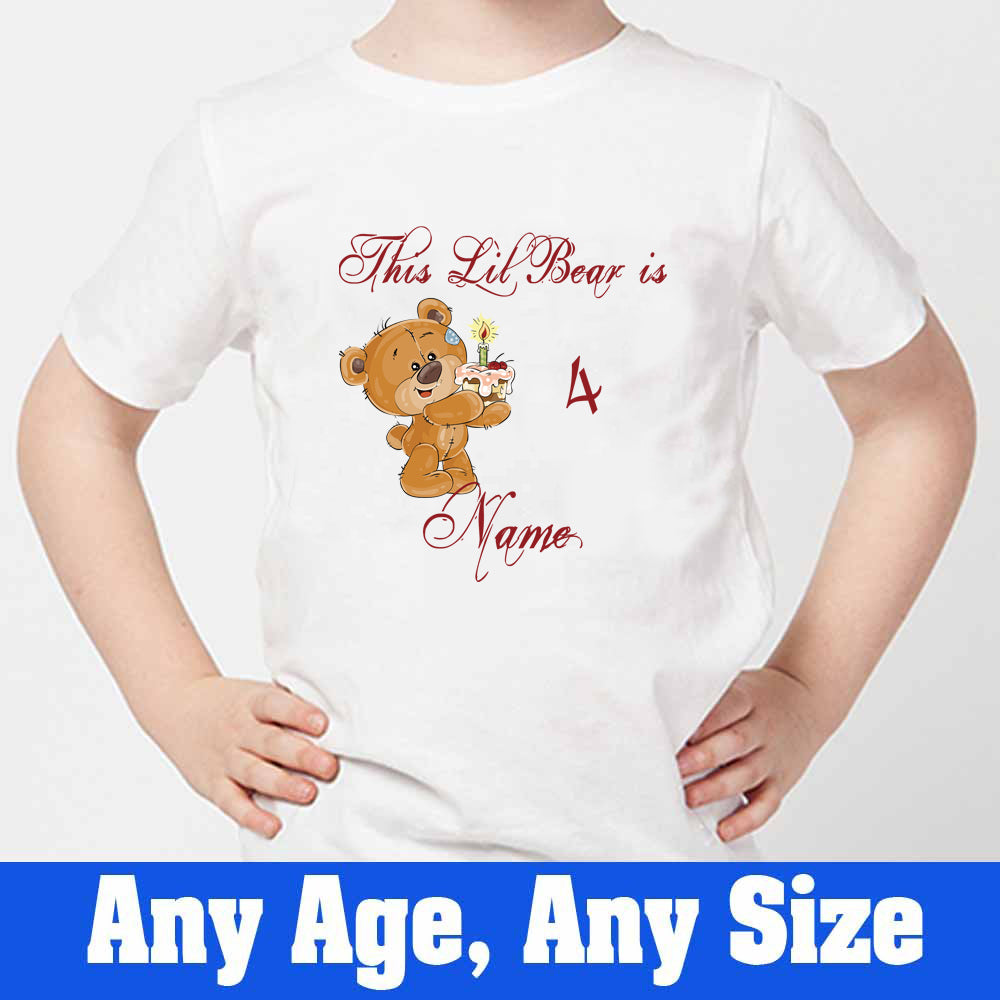 Sprinklecart This Lil Bear is 4 Printed Birthday T Shirt | Personalized 4th Birthday Dress