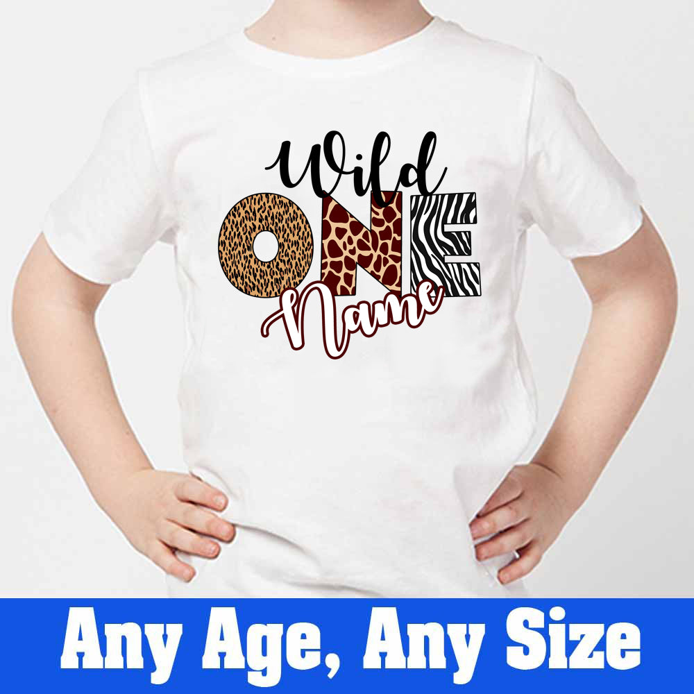 Sprinklecart Wild One Printed Birthday T Shirt | Customized Jungle Themed 1st Birthday Dress
