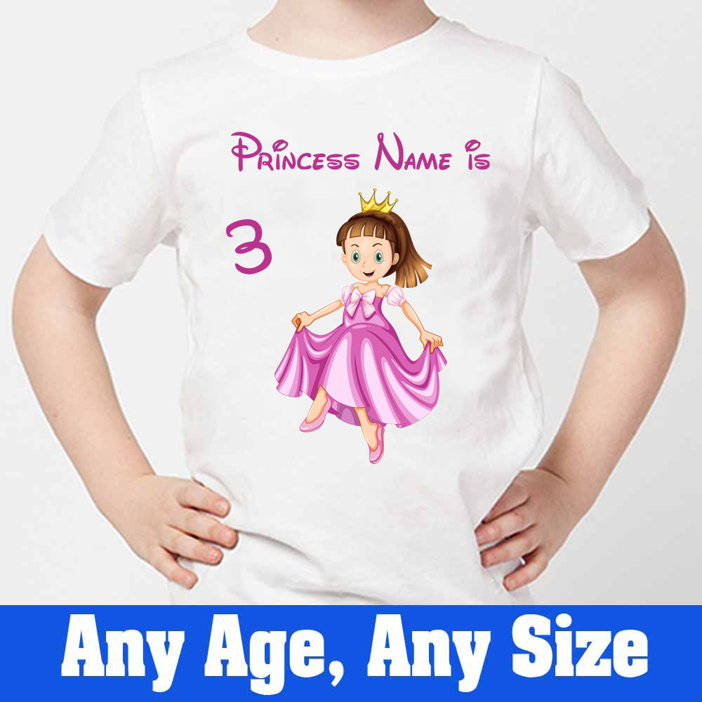 Sprinklecart Cute Princess Birthday Dress | Custom Name and Age Printed 3rd Birthday T Shirt