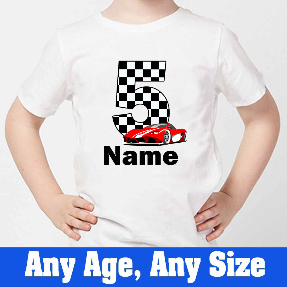 Sprinklecart Personalized 5th Birthday Racing Car T Shirt for Boys