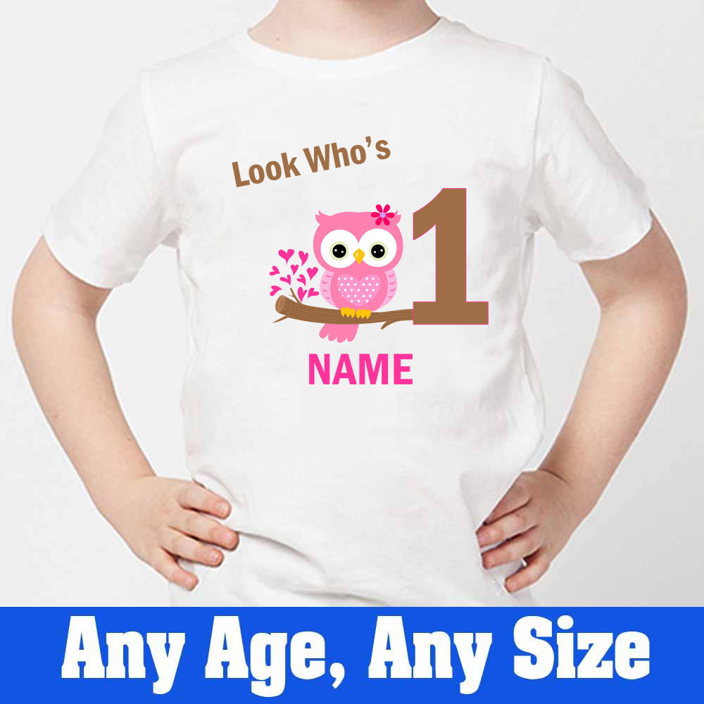 Sprinklecart Look Who's 1 Owl T Shirt | Custom Name and Age Printed Birthday T Shirt