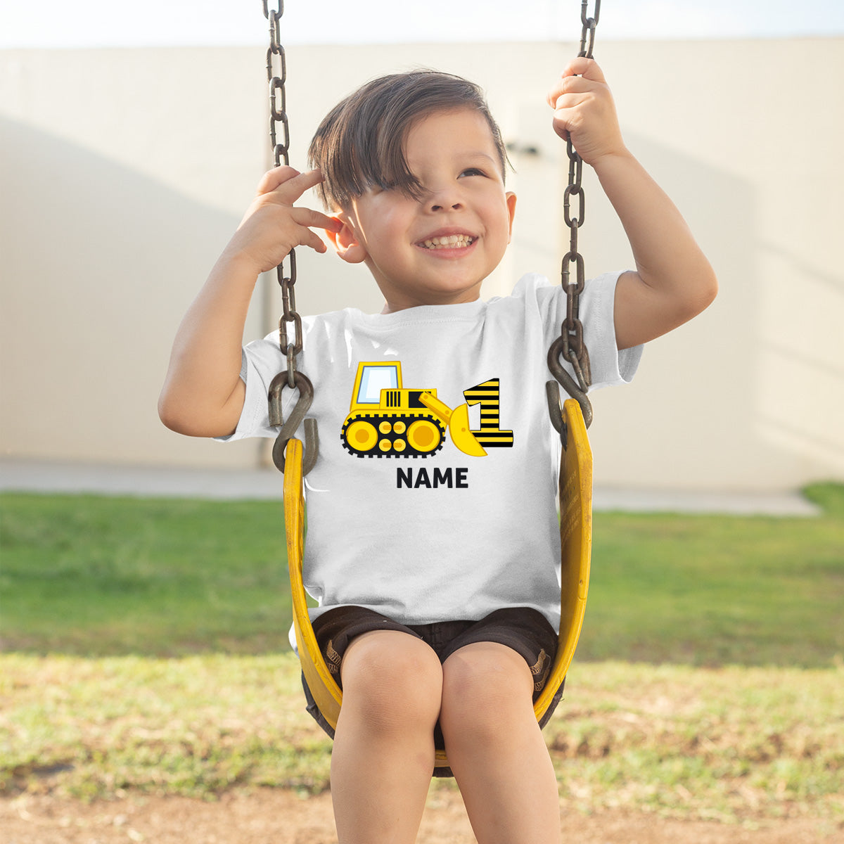Sprinklecart Construction Vehicle Birthday Dress | Personalized 1st Birthday T Shirt