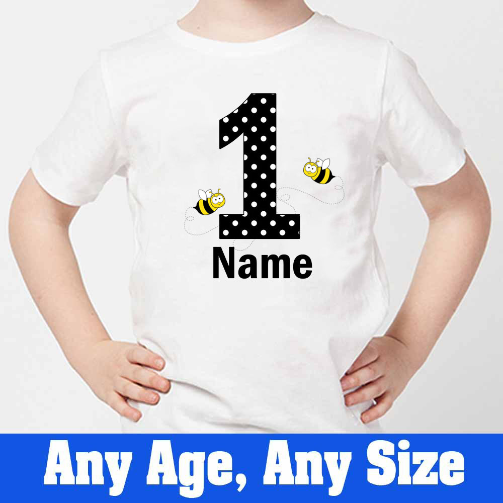 Sprinklecart Custom Name and Age Printed Honey Bee T Shirt | Personalized 1st Birthday Wear
