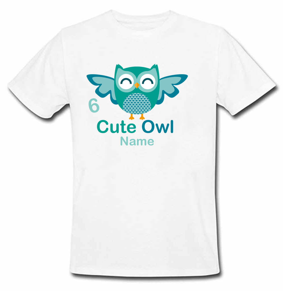 Sprinklecart Customized Cute Owl Birthday T Shirt | Personalized 6th Birthday Dress