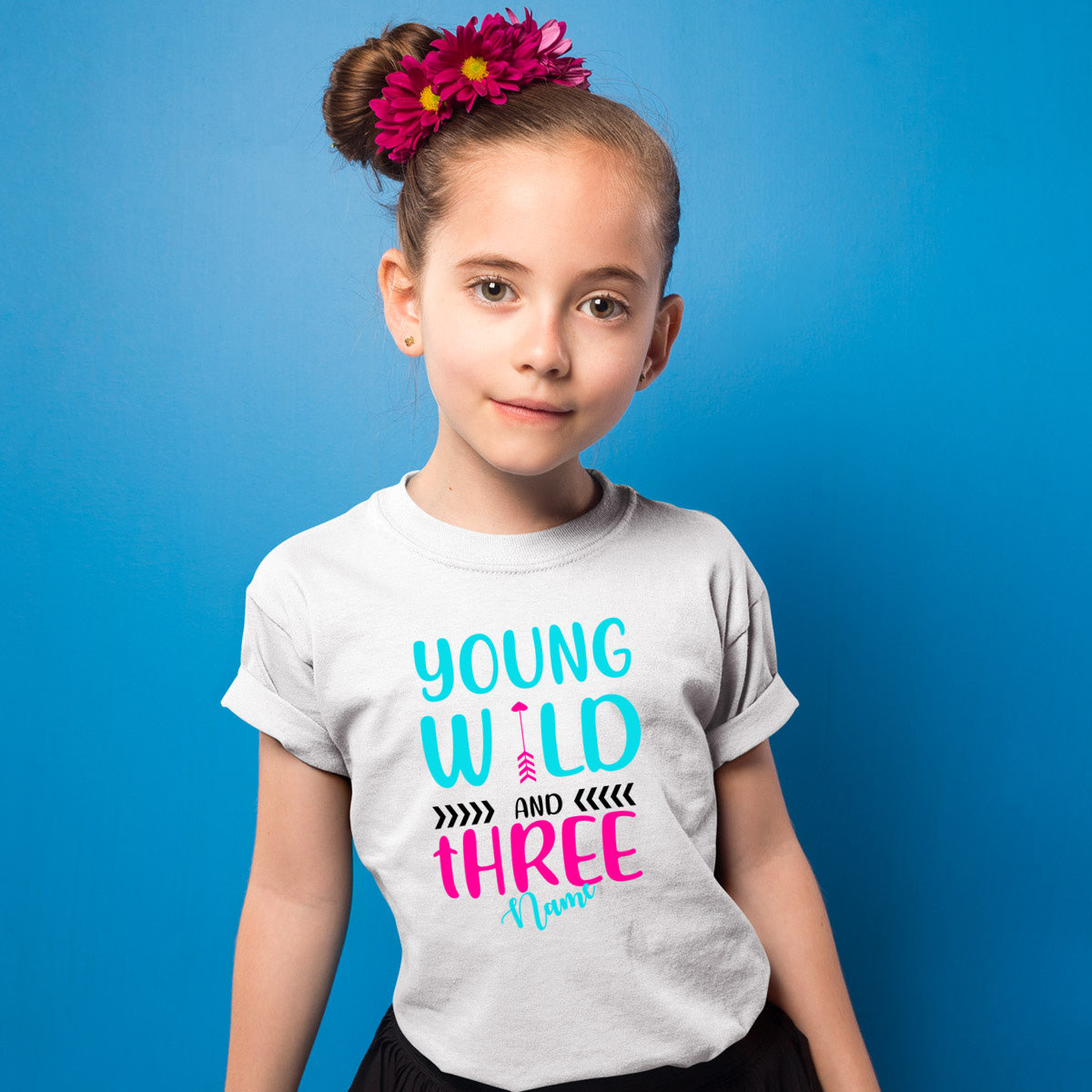 Sprinklecart Young Wild and Three Printed Birthday T Shirt | Personalized 3rd Birthday Wear