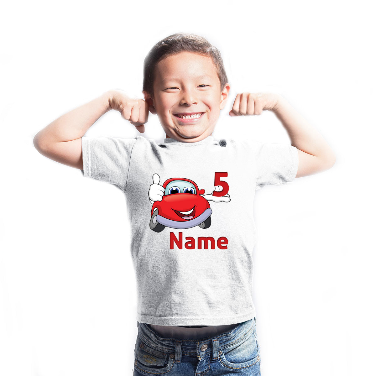 Sprinklecart Cute Name Printed Birthday T Shirt | Customized Car Birthday Dress for Your Little One