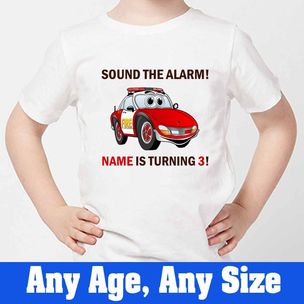 Sprinklecart Sound The Alarm Name is 2 Printed Vehicle Birthday T Shirt | Customized Birthday Wear for Your Little One