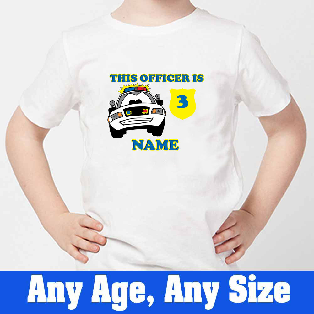 Sprinklecart This Officer is 3 Printed Police Birthday T Shirt | Customized Birthday Wear