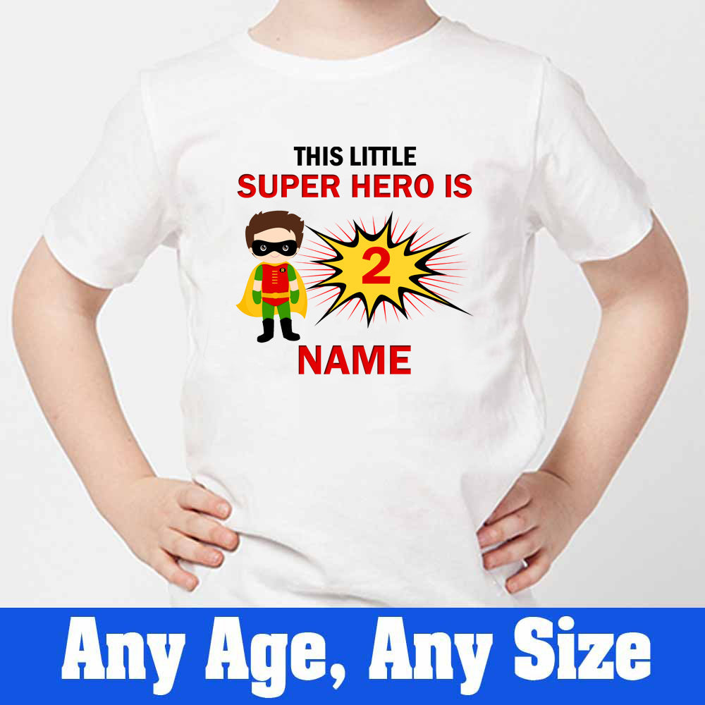 Sprinklecart This Little Super Hero is 2 Printed Birthday T Shirt | Custom Name and Age Printed Birthday Dress
