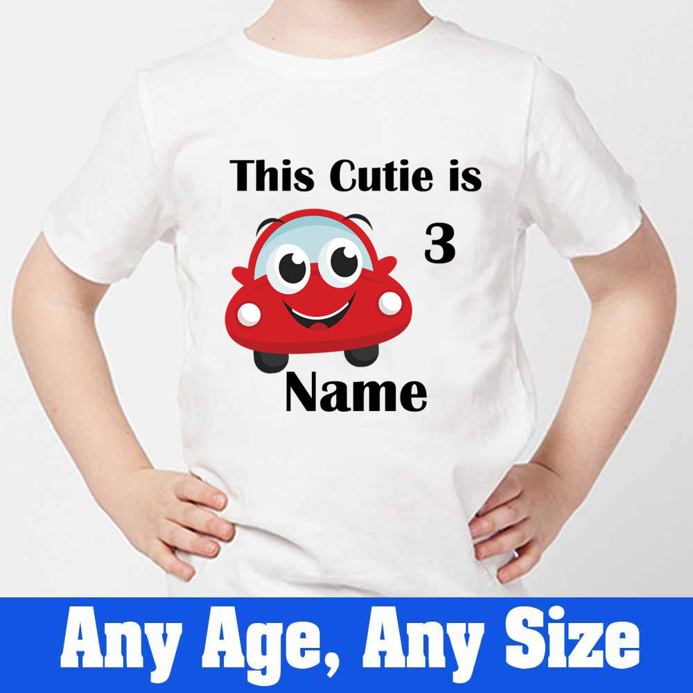 Sprinklecart This Cutie is 3 Printed Cute Car T Shirt | Customized 3rd Birthday Dress