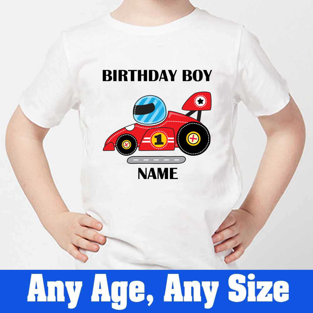 Sprinklecart Personalized Racing Car Birthday T Shirt | Customized 1st Birthday Dress