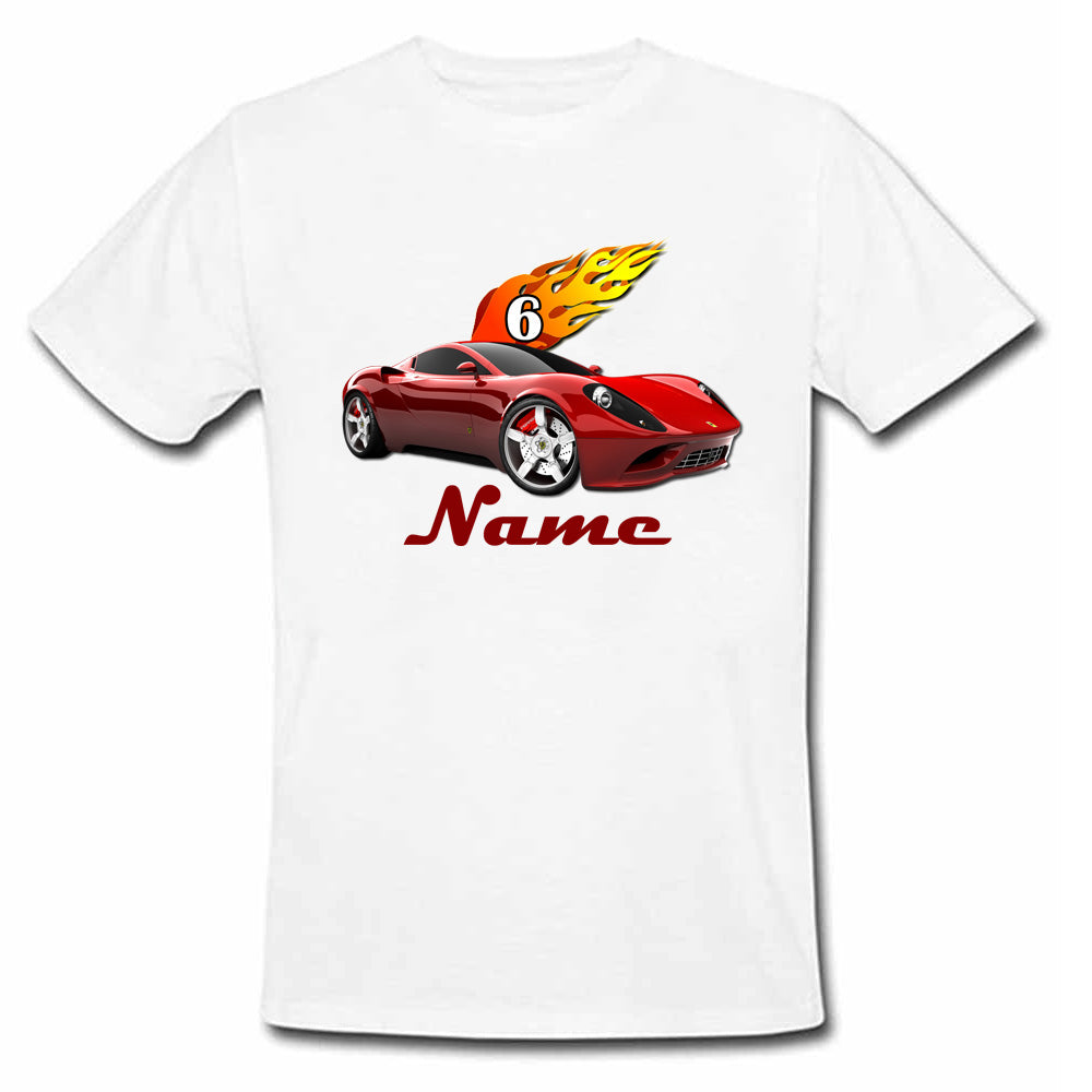 Sprinklecart Racing Car Birthday T Shirt | Custom Name and Age Printed 6th Birthday Dress