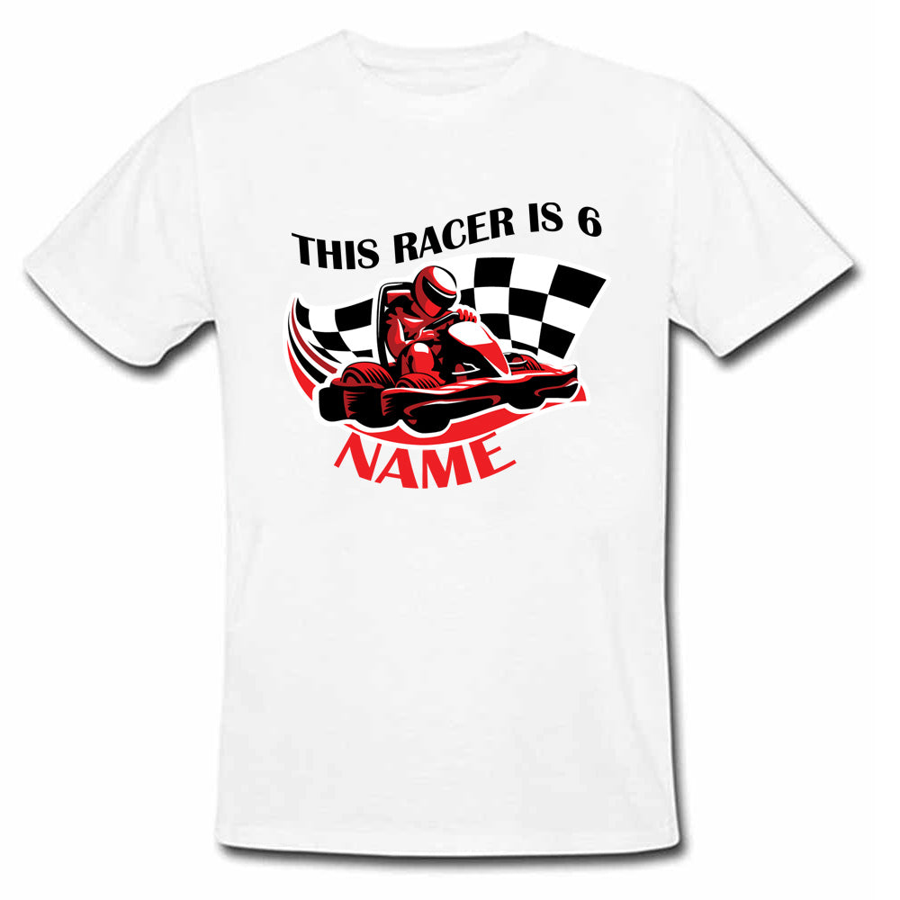 Sprinklecart This Racer is 6 Printed Birthday T Shirt | Customized Birthday Wear for Your Little Hero