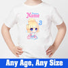 Sprinklecart Cute Princess Birthday T Shirt | Custom Name and Age Printed 3rd Birthday Dress