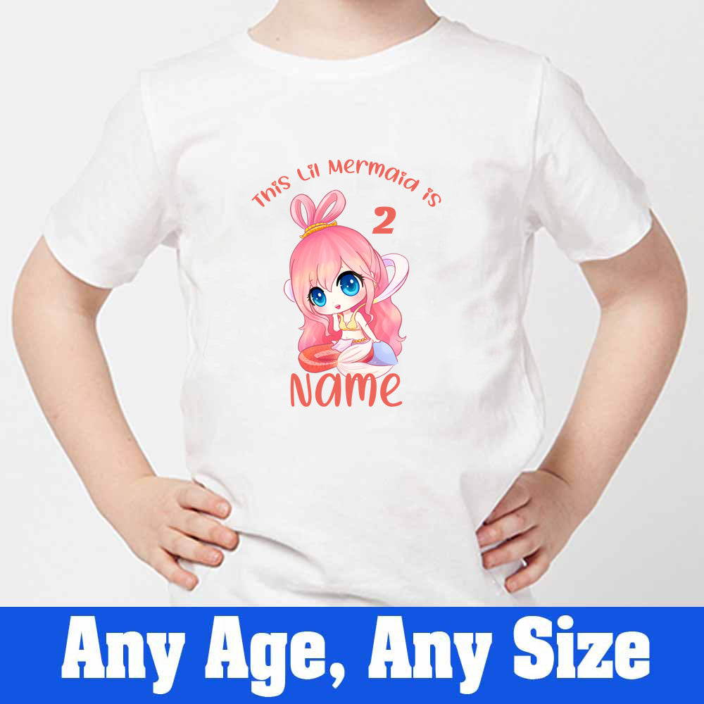 Sprinklecart This Lil Mermaid is 2 Printed Birthday T Shirt | Customized 2nd Birthday Dress