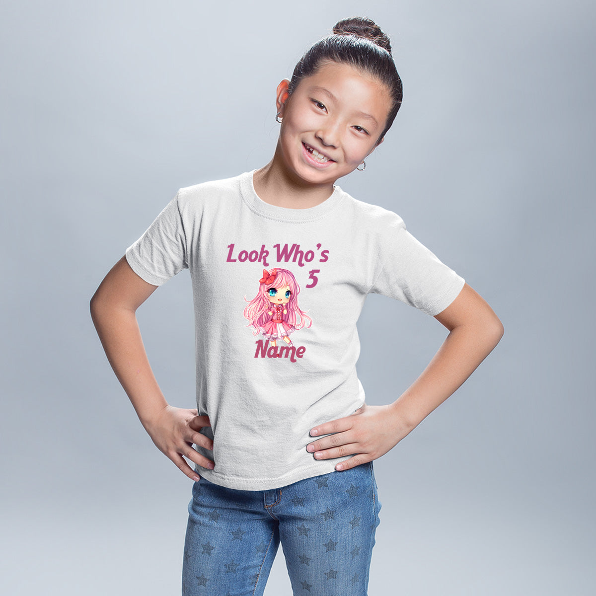 Sprinklecart Look Who's 5 Printed Cute Girl Birthday T Shirt | Customized 5th Birthday Wear