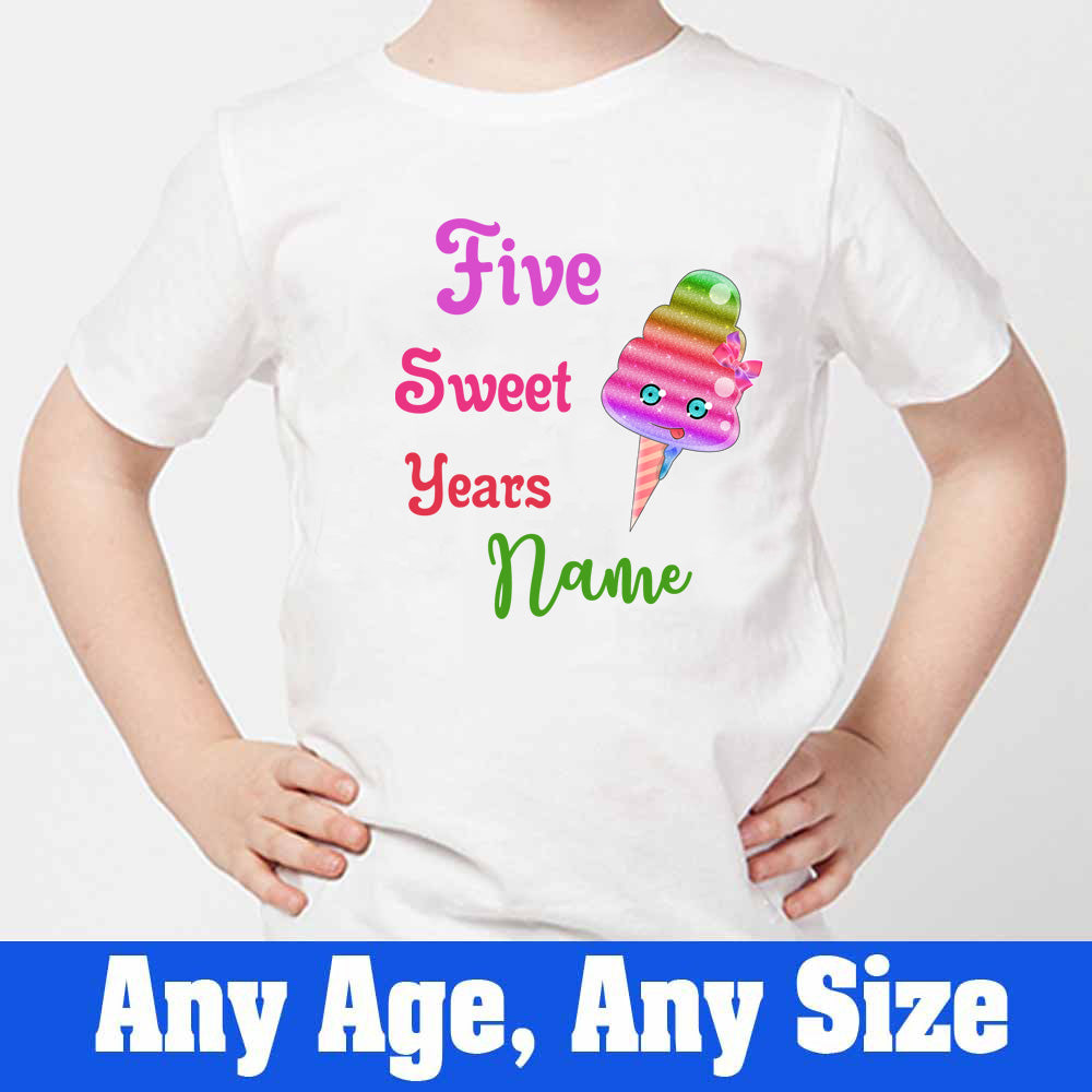 Sprinklecart Five Sweet Years Printed Ice Cream Birthday T Shirt | Personalized 5th Birthday Dress