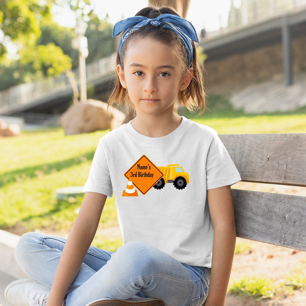 Sprinklecart Customized Construction Vehicle Birthday T Shirt | Personalized 3rd Birthday Dress