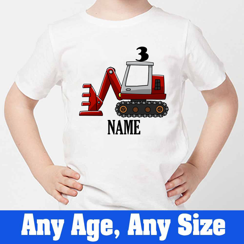 Sprinklecart Construction Vehicle Birthday T Shirt | Personalized Name and Age Printed Birthday Dress