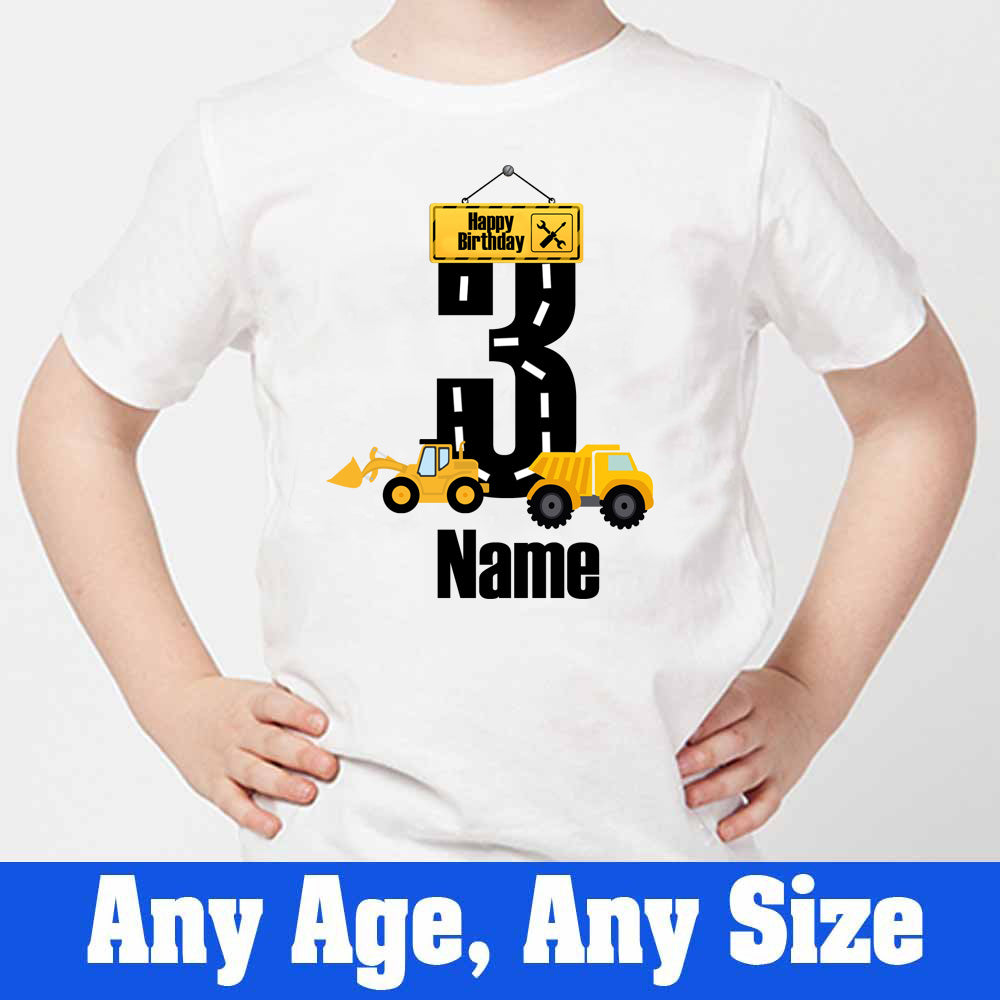 Sprinklecart Construction Vehicle Birthday T Shirt | Personalized Birthday Dress