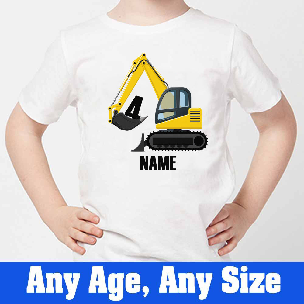 Sprinklecart Custom Name and Age Printed Construction Vehicle Birthday T Shirt for Your Little One