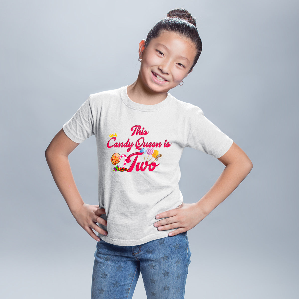 Sprinklecart This Candy Queen is Two Printed Birthday T Shirt | Customized Birthday Wear
