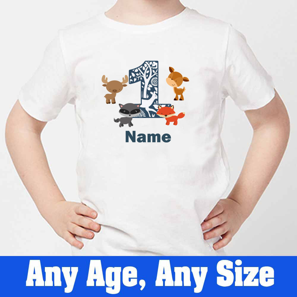 Sprinklecart Woodland Animals Themed Birthday T Shirt | Custom Name and Age Printed 1st Birthday Wear