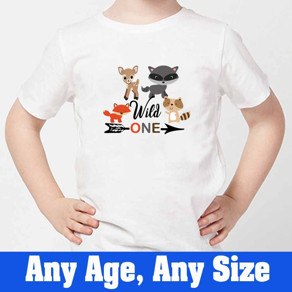 Sprinklecart Wild One Printed Woodland Animals Birthday Wear | Personalized Birthday T Shirt