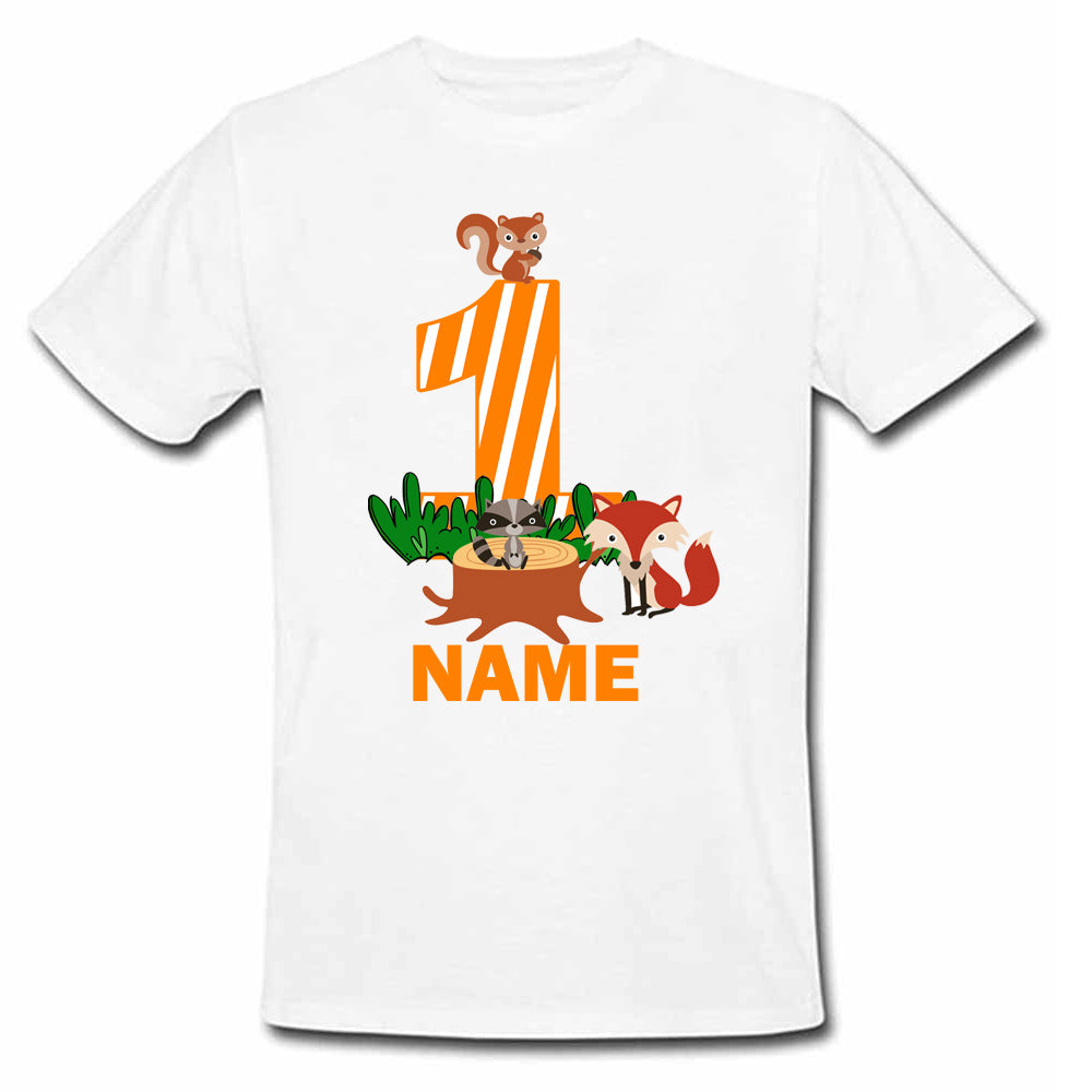 Sprinklecart Customized 1st Birthday T Shirt Gift | Personalized Woodland Animals Birthday Wear