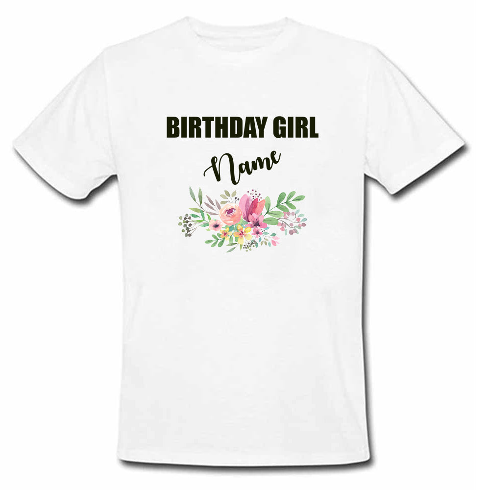 Sprinklecart Floral Themed Birthday Tee | Custom Name Printed Birthday Wear