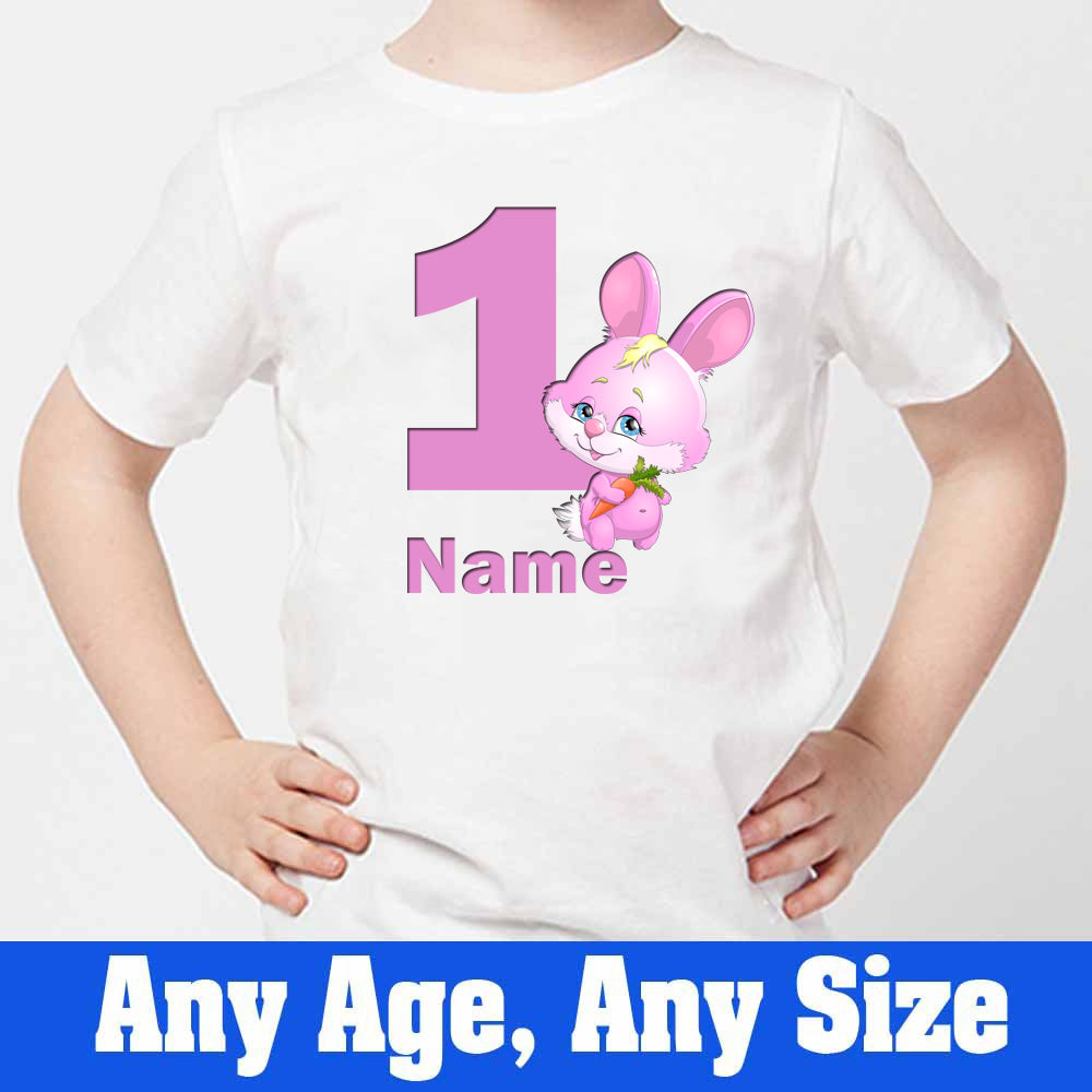 Sprinklecart Cute Bunny Birthday T Shirt Gift | Customized 1st Birthday Dress for Your Cutie