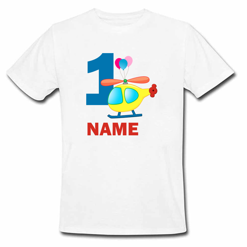 Sprinklecart Airplane First Birthday T Shirt Custom Name and Age Printed Birthday Wear, Kids Poly-Cotton White