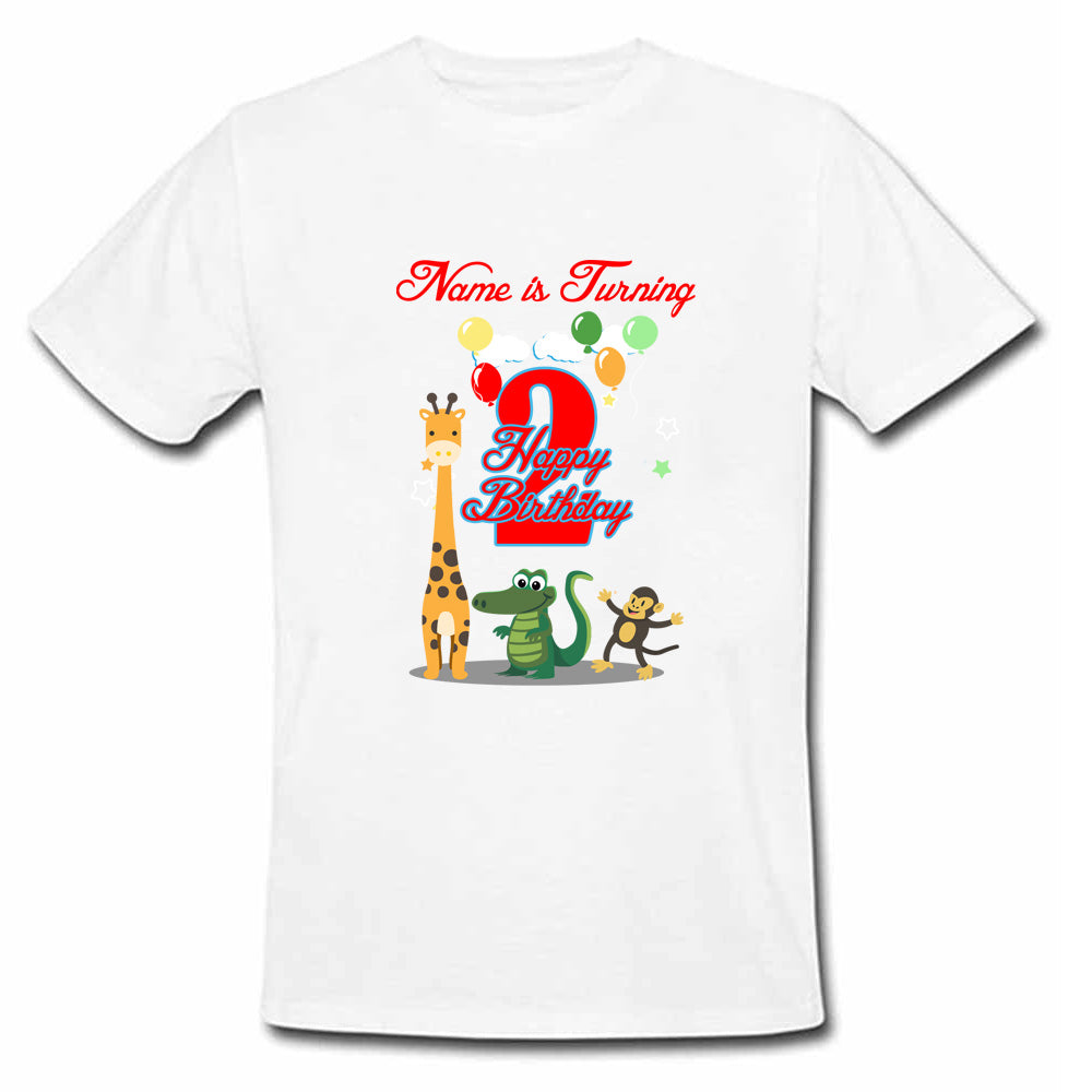 Sprinklecart Cute Animals Birthday T Shirt Gift | Personalized 2nd Birthday Gift for Your Little One