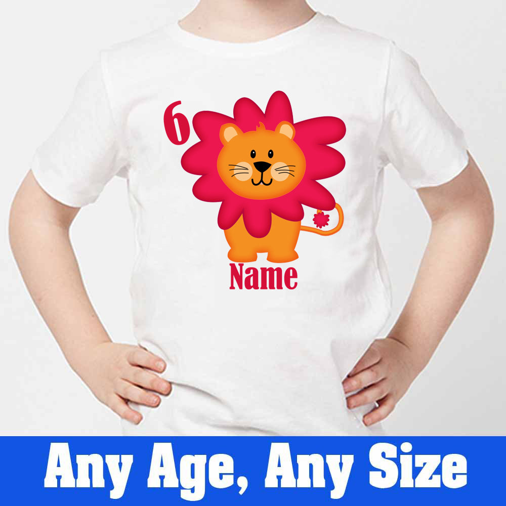 Sprinklecart Custom Name ans Age Printed Lion Birthday T Shirt | Personalized 6th Bithday Dress