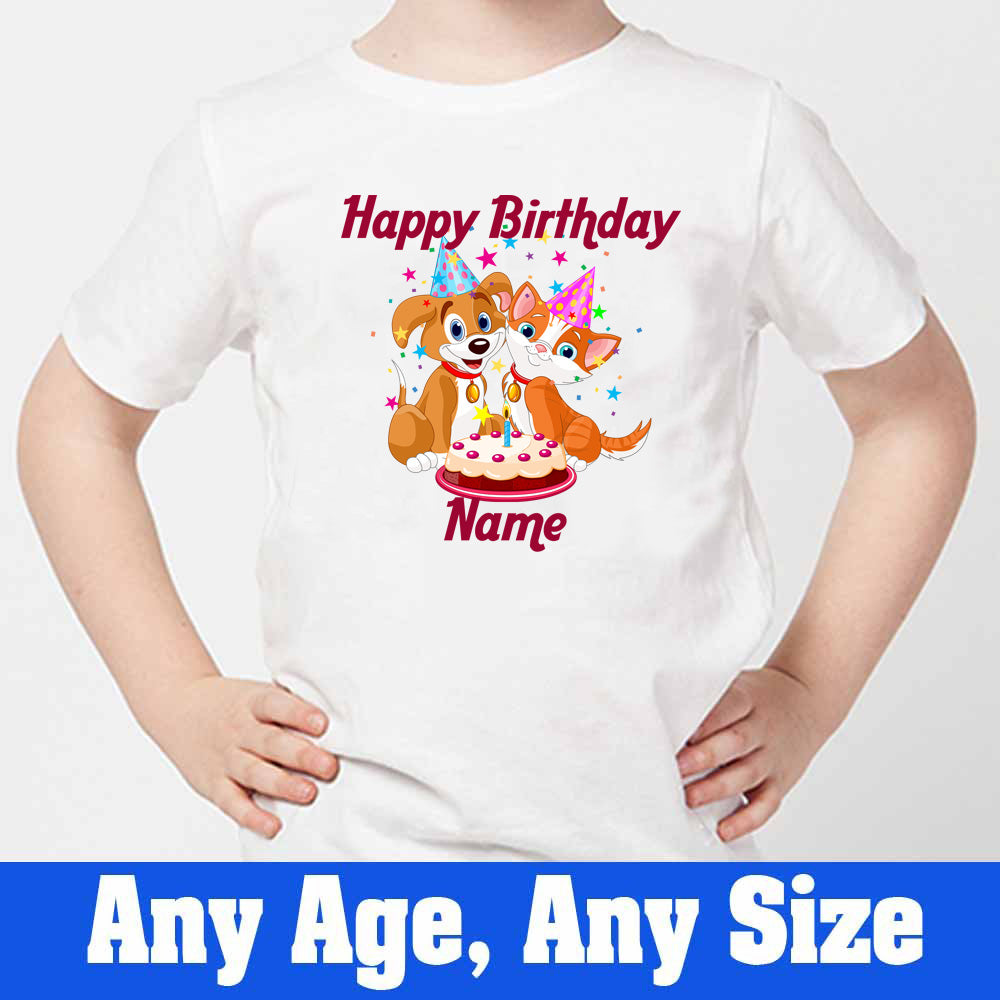 Sprinklecart Personalized Name Printed Birthday T Shirt | Customized Cute Dog and Cat Printed Birthday Dress